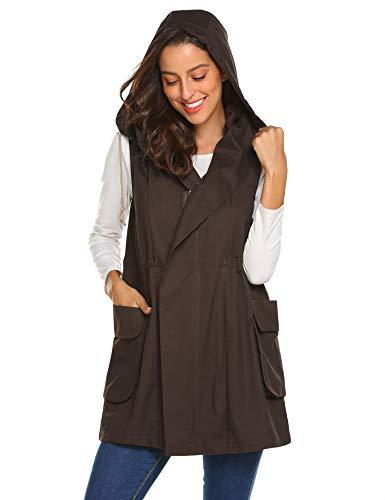 Zeagoo Women's Sleeveless Coat Vest Hoodie Anoraks with Big Pockets