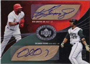 (2007 Exquisite Collection Autograph Ken Griffey Jr/Delmon Young AUTO 22/25 Baseball Trading Card)