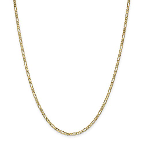 14k Yellow Gold 18in Solid Lightweight Figaro Necklace Chain (Jewelry Pot 14k Gold Chain)