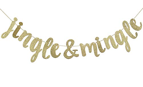 Jingle and Mingle Glitter Banner, Holiday, Christmas Party Favors (Gold)