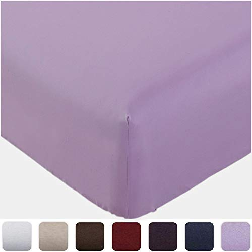 Mellanni Fitted Sheet Twin Violet - Brushed Microfiber 1800 Bedding - Wrinkle, Fade, Stain Resistant - Deep Pocket - 1 Single Fitted Sheet Only (Twin, Violet)