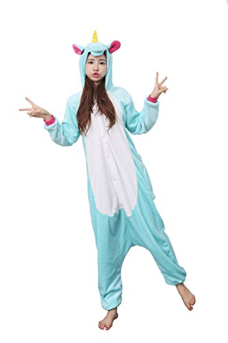Cute Easy Halloween Costumes To Make (LeaLac Unisex Onesie Halloween Costume Adult Animal Cosplay Pajamas Water Green M)