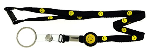 (Adjustable Black Lanyard With Yellow Smiley Faces With Silver-Tone Split-Ring Key Chain KEKC2634 )