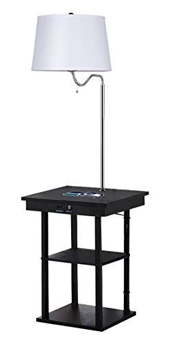Lamps Black Logo Team Shade - The Furniture Cove Black End Side Table Lamp with White Shade and Built-in USB Ports and Electric Outlet Featuring a Football Team Logo - Free LED Bulb Included (Seahawks)
