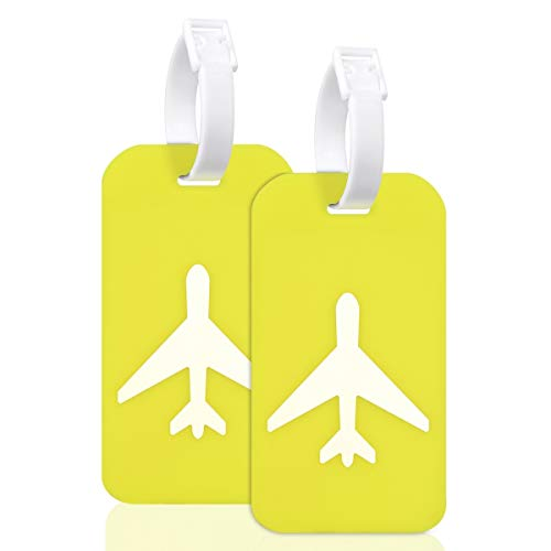 Large Silicon Luggage Tags with Name ID Cards for Luggage Baggage Travel Identifier By Ovener (Yellow 2Pack)