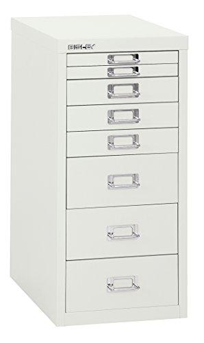 Bisley 8 Drawer Steel Under-Desk Multidrawer Storage Cabinet, White (MD8-WH)