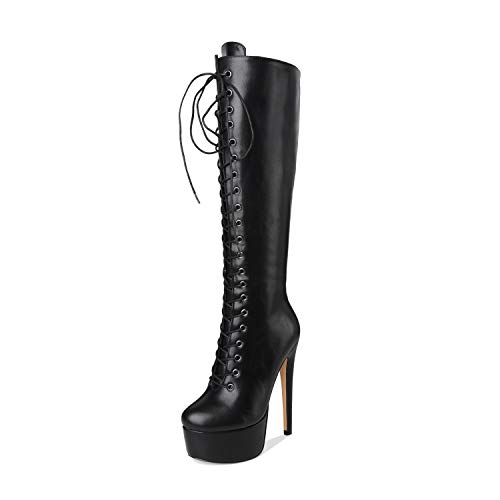 (Onlymaker Women's Sexy Platform Front Lace-Up High Heel Stiletto Stretch Over The Knee High Boot Black 6 M US)