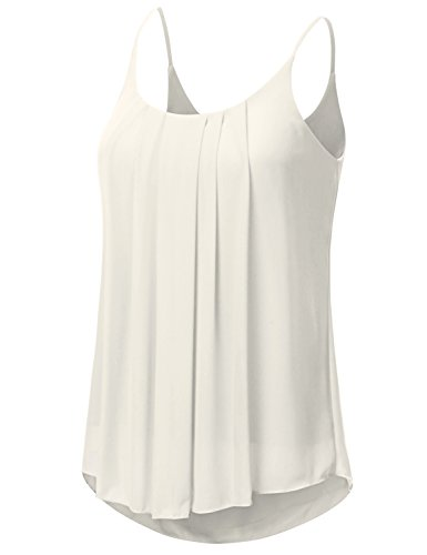 JJ Perfection Women's Pleated Chiffon Layered Cami Tank Top Ivory L by JJ Perfection (Image #1)