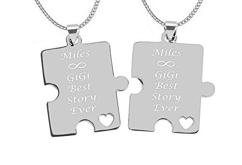 Engraved Stainless Steel Puzzle Pieces Necklace