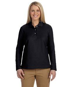 Devon & Jones - Ladies' Pima Pique Long-Sleeve Polo >> M,BLACK ()