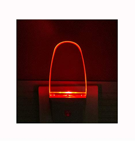 4 Pack Auto Nightlight Lamp with Dusk to Dawn Sensor for Bedroom, Plug in, Red ()