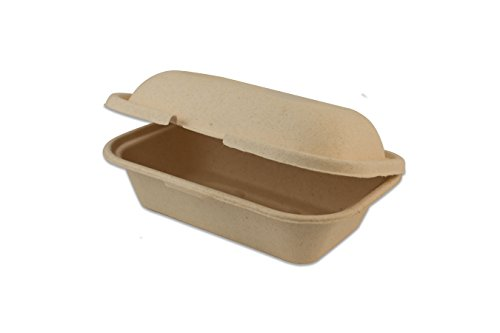 World Centric TO-MC-96 100% Compostable Unbleached Silver Grass Fiber Hoagie Box Take Out Containers, 9'' x 6'' x 3'' (Pack of 200) by World Centric