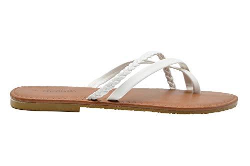 (Chatties Ladies Fashion Sandals 10 M US Smooth Pu Thong Slip On Flats with Braid Detail)