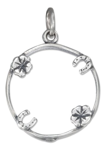 Four Charm Lucky Penny Holder - Sterling Silver Antiqued Four Charm Lucky Penny Holder