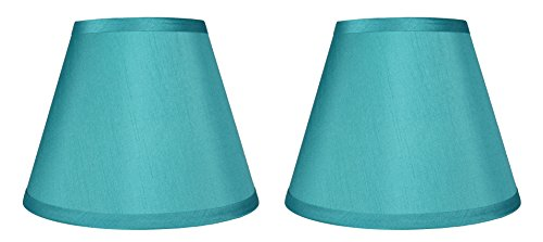 Lamp Table Shade Silk (Urbanest Set of 2 Coolie Hardback Lampshade, Faux Silk, 5-inch by 9-inch by 7-inch, Teal, Spider Washer Fitter)
