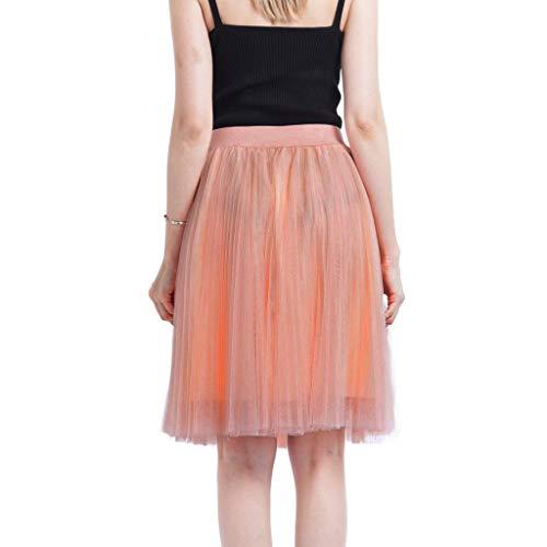 (Women Princess Tulle Skirts, Sharemen 4 Layers Mesh Pleated Bubble Skirt Solid Color High Waist Swing Gauze Dress(Orange,One Size))