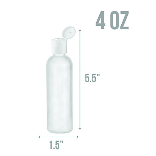 MoYo Natural Labs 4 oz Travel Bottles, Empty Travel Containers with Flip Caps, BPA Free HDPE Plastic Squeezable Toiletry Cosmetic Bottles Neck 24-410 4 pack, Translucent White