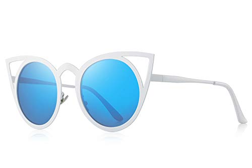MERRY'S Cat Eye Sunglasses Round Metal Cut-Out Flash Mirror Lens Metal Frame Sun glasses S8064 (Blue, 50) ()