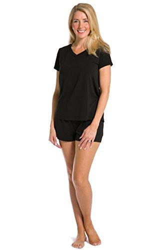 Fishers Finery Postpardum Pajamas Maternity Nursing Lounge Wear Women Sets (Black, L)