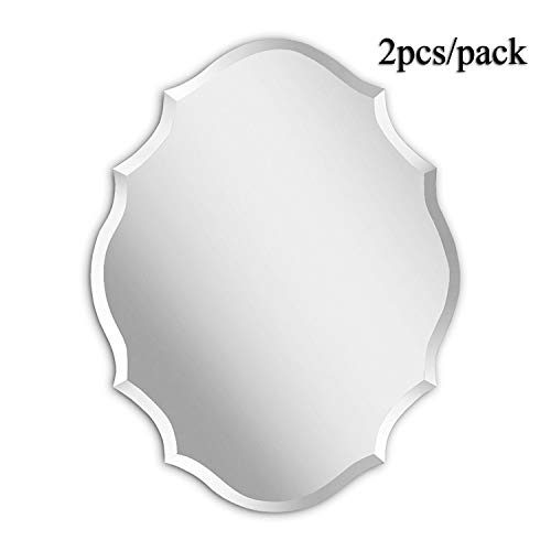 (MIRROR TREND Emma Shaped Frameless Beveled Mirror with Solid Core Wood Backing 22