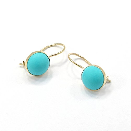 14K Solid Yellow Gold Turquoise Gemstone Drop Earrings 14k Yellow Gold Turquoise Ring