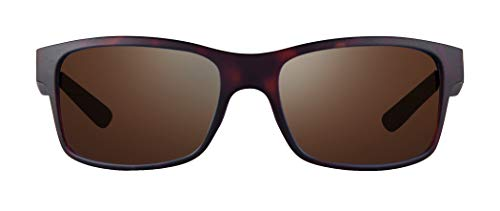 (Revo Unisex RE 1027 Crawler Rectangular Polarized UV Protection Sunglasses 59 mm, Matte Tortoise Frame, Terra Lens)