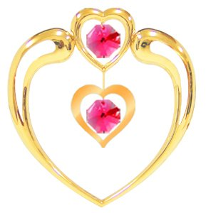 Gold Plated Heart in Heart Suncatcher with Red Swarovski Element Crystals