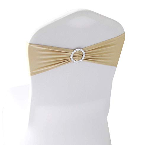 mds Pack of 25 Spandex Chair Sashes Bow sash Elastic Chair Bands Ties with Buckle for Wedding and Events Decoration Lycra Slider Sashes Bow - Champagne Gold ()