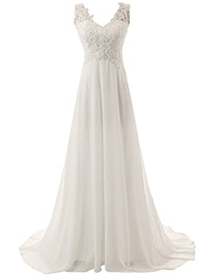 YAOBABBY Women's Elegant V-neck A-line Lace Chiffon Long Beach Wedding Dress