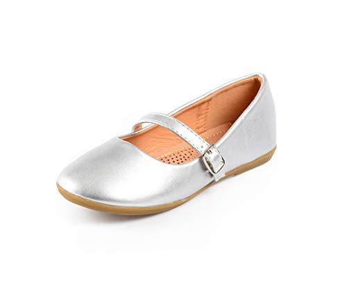 Nova Utopia Toddler Little Girls Dress Ballet Mary Jane Bow Flat Shoes,NF Utopia Girl NFGF060New SilverPU 1