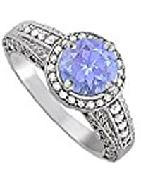 December Birthstone Tanzanite and CZ Ring 1.75 TGW