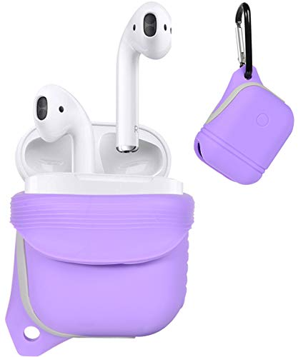 Alltravel Protective Cover for Airpods, Silicon Eco Skin, Shake, Shock and Water Proof, Use with The Skin on Design, Easy to go Carabiner, Light Weight and Durable, (Purple)