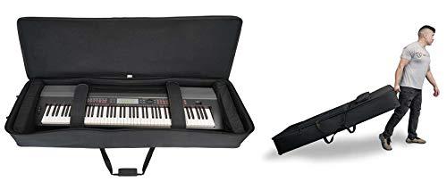 Rockville Rolling Bag 61 Key Keyboard Case w/Wheels+Trolley Handle+Large Pocket