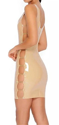 Mini Skinny Club Bodycon PU Low Apricot Women's Cruiize Leather Cut Dress x8gqTYwS