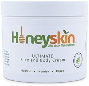 Face and Body Cream Moisturizer - Nourishing Aloe Vera - Manuka Honey for Rosacea Eczema Psoriasis Rashes Itchiness Redness - Natural Organic Cracked Skin Relief - Anti Aging - Anti Wrinkle (4 oz)