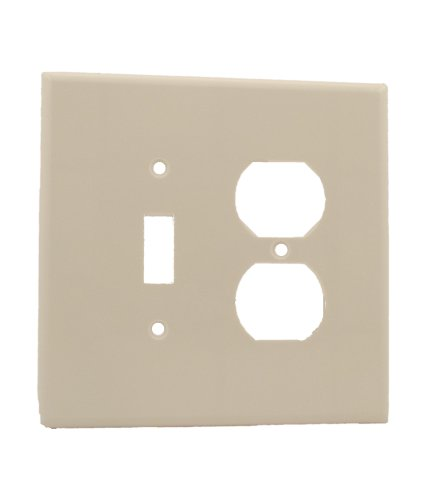 Leviton 88105 2-Gang 1-Toggle 1-Duplex Device Combination Wallplate, Oversized, Thermoset, Device Mount, - Covers Switchplate Oversize