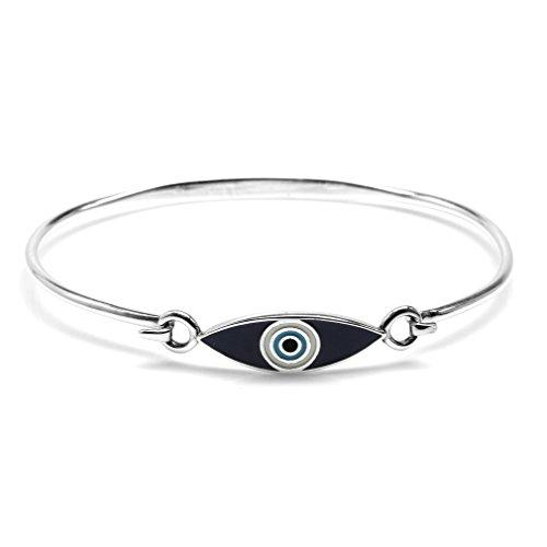 Blue & White Enamel 925 Sterling Silver Casual Evil Eye Teens/Girls Bangle Bracelet 7 Inch