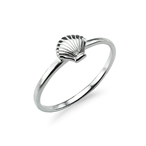 Sterling Silver Polished Seashell Band Ring Clam Scallop Beach Size 8 ()