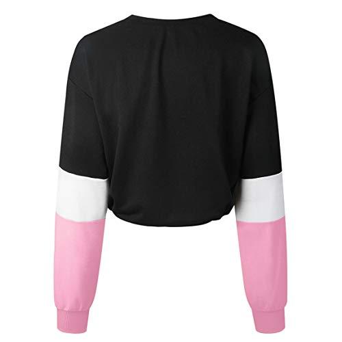 Rose Patchwork Manches Pas Shirt lgant Femmes Longues Femme Couleur Bellelove Femme Tops Pull Sweat Les Pull Splitting Cher Blouse Dames 6HAxpfqg4