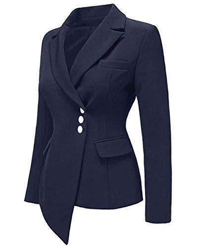 Donna Giubotto Outerwear Unico Confortevole Manica Lunga Single Bavero Camicia Breasted Slim Solidi Formale Blau Fit Irregular Leisure Suit Colori Autunno rC4wrtRq
