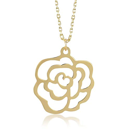 Gelin 14k Solid Gold Rose Flower Pendant Chain Necklace for Women 18 Inch