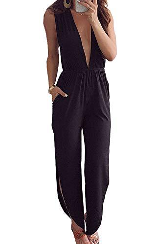PRETTYGARDEN Women's Elegant Deep V Neck Sleeveless Backless Side Split Loose Jumpsuit Romper with Pockets (Black, X-Large)