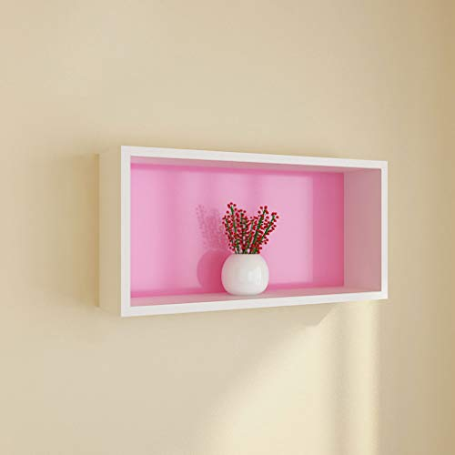 Wall Shelf Background Wall Decorative Shelf Wall Hanging Shelf Living Room Wall Dining Room Bedroom Bookcase (Color : Pink)