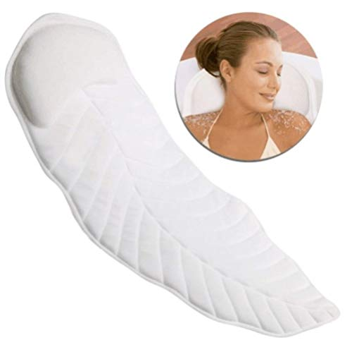 Extra Wide Bathtub Spa Bath Pillow Mattress, Full Body Luxury Soft Quilted Cushion Mat with Large Non Slip Suction Cups, Comfort Head Rest and Back & Tailbone Support, Quick Drying and Anti Bacteria