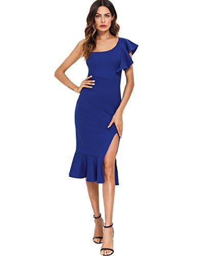 le One Shoulder Split Midi Party Bodycon Dress Blue XS ()