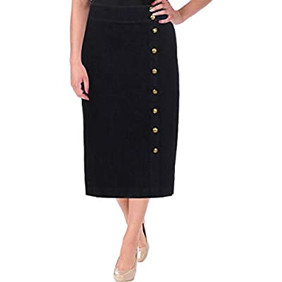 Lauren Ralph Lauren Womens Button-Front Front Slit Denim Skirt