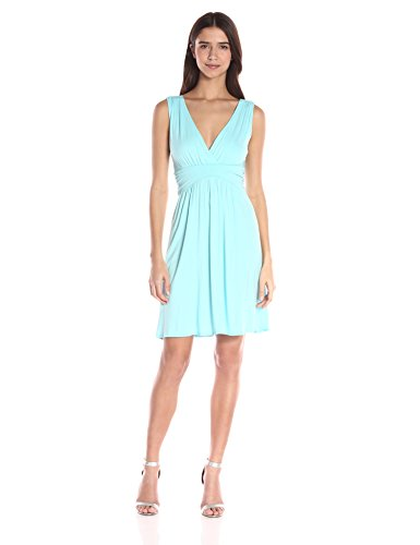 Star Vixen Women's Petite Sleeveless Empire Waist Summer Sun Dress, Blue Aqua, Medium