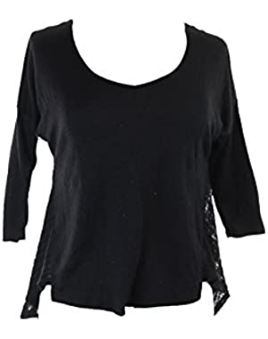 Jessica Simpson Womens Malery High-Low Crinkled Pullover Top Black S