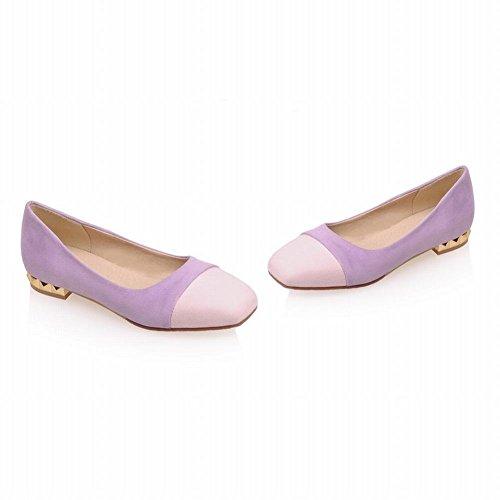 Latasa Dames Leuke Tweekleurige Faux Suede Vierkante Neus Slip Flats Pumps Schoenen Paars (hoofdkleur)