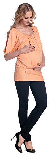 Happy Mama Para Mujer Top jersey Camiseta de premamá Hombros al descubierto 221p albaricoque
